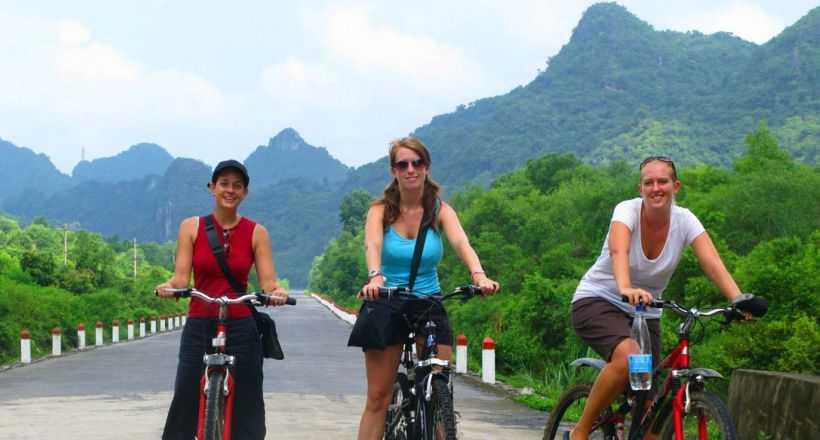 Biking in peaceful landscape from Hanoi to Cat Ba Island